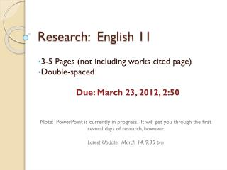 Research:  English 11