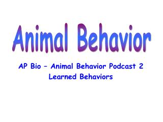 AP Bio – Animal Behavior Podcast 2 Learned Behaviors