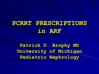 PCRRT PRESCRIPTIONS in ARF