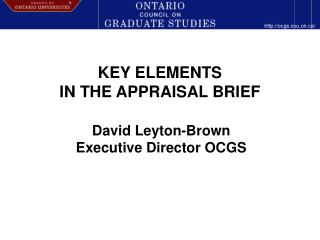 KEY ELEMENTS  IN THE APPRAISAL BRIEF