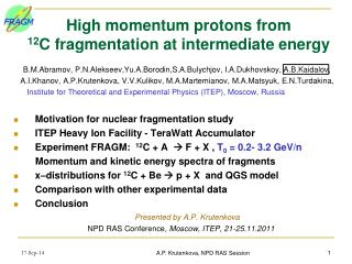 High momentum protons from  12 C  fragmentation at intermediate energy