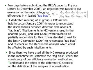 Few days before submitting the BR( ') paper to  Physics