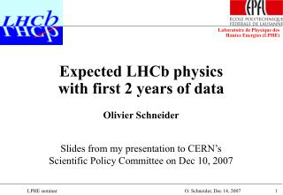 Expected LHCb physics  with first 2 years of data