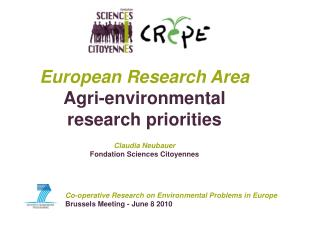 Co-operative Research on Environmental Problems in Europe Brussels Meeting - June 8 2010