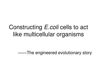Constructing  E.coli  cells to act like multicellular organisms