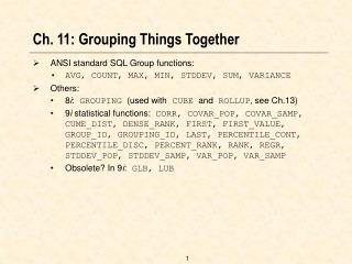 Ch. 11: Grouping Things Together