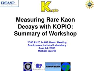 Measuring Rare Kaon Decays with KOPIO: Summary of Workshop