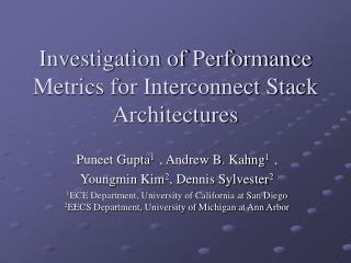 Investigation of Performance Metrics for Interconnect Stack Architectures