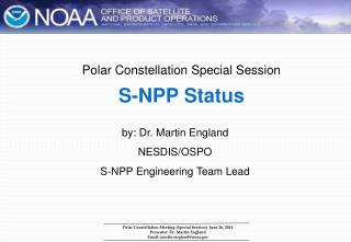 Polar Constellation Special Session S-NPP Status