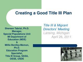 Creating a Good Title III Plan