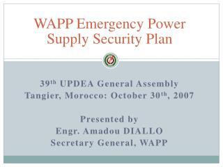 WAPP Emergency Power Supply Security Plan