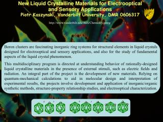 New Liquid Crystalline Materials for Electrooptical  and Sensory Applications