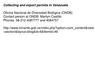 Collecting and export permits in Venezuela Oficina Nacional de Diversidad Biológica (ONDB)