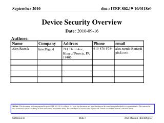 Device Security Overview