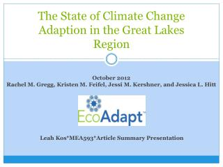 The State of Climate Change Adaption in the Great Lakes Region