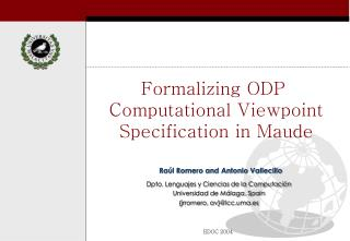 Formalizing ODP  Computational Viewpoint Specification in Maude