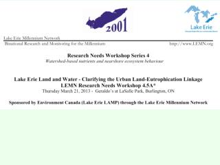 Lake Erie Land and Water - Clarifying the Urban Land - Eutrophication Linkage