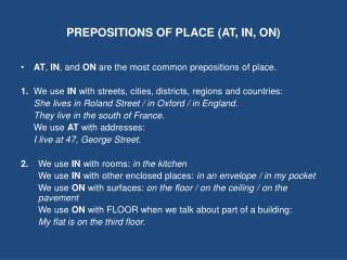 PREPOSITIONS OF PLACE (AT, IN, ON)