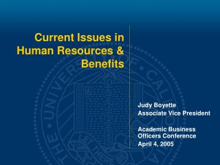 Current Issues in  Human Resources & Benefits