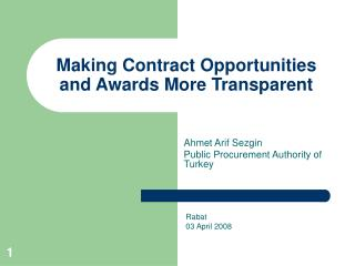 Making Contract Opportunities and Awards More Transparent