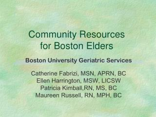 Community Resources  for Boston Elders