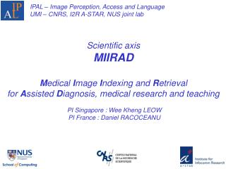 IPAL – Image Perception, Access and Language UMI – CNRS, I2R A-STAR, NUS joint lab