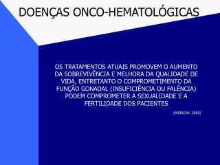 DOEN�AS ONCO-HEMATOL�GICAS