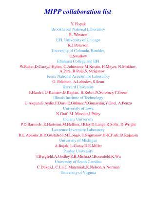 MIPP collaboration list