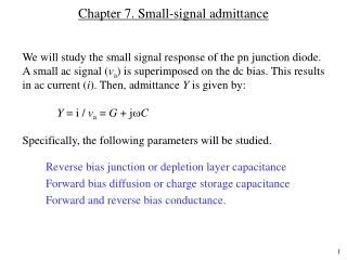 Chapter 7. Small-signal admittance