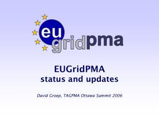EUGridPMA  status and updates David Groep, TAGPMA Ottawa Summit 2006