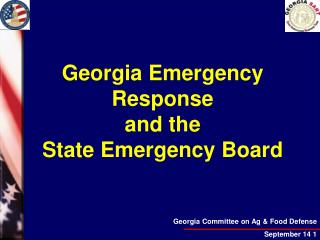 Georgia Emergency Response and the  State Emergency Board