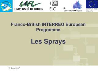 Franco-British INTERREG European Programme Les Sprays