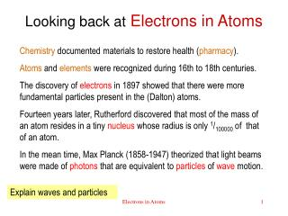Looking back at Electrons in Atoms
