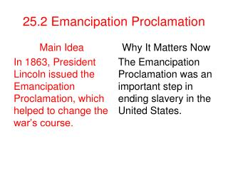 25.2 Emancipation Proclamation