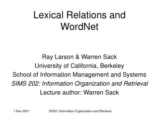 Lexical Relations and WordNet