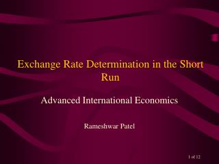 Exchange Rate Determination in the Short Run