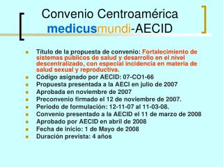 Convenio Centroamérica  medicus mundi -AECID