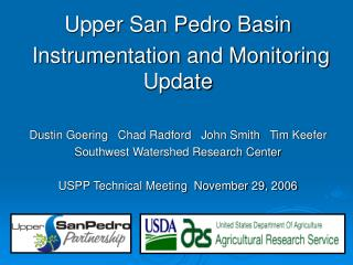 Upper San Pedro Basin  Instrumentation and Monitoring Update