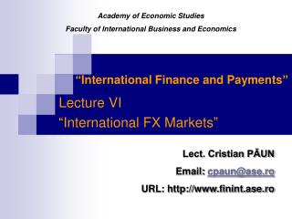 � International Finance and Payments �
