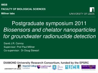 Postgraduate symposium 2011 Biosensors and chelator nanoparticles for groundwater radionuclide detection
