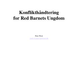 Konflikthåndtering for Red Barnets Ungdom