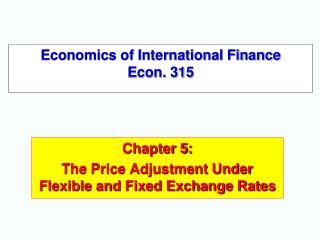 Economics of International Finance Econ. 315