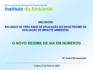 Ministério das Cidades, Ordenamento do Território e Ambiente Instituto do Ambiente