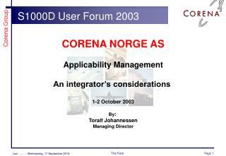 S1000D User Forum  2003