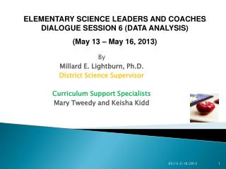 By Millard E. Lightburn, Ph.D. District Science Supervisor Curriculum Support Specialists