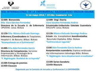 12:00h  Bienvenida Dña. Clara Sánchez Fernández