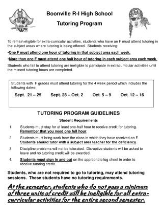 Boonville R-I High School Tutoring Program