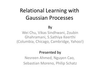 Relational Learning with Gaussian Processes