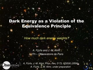 Dark Energy as a Violation of the Equivalence Principle