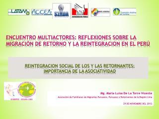 REINTEGRACION SOCIAL DE LOS Y LAS RETORNANTES:  IMPORTANCIA DE LA ASOCIATIVIDAD